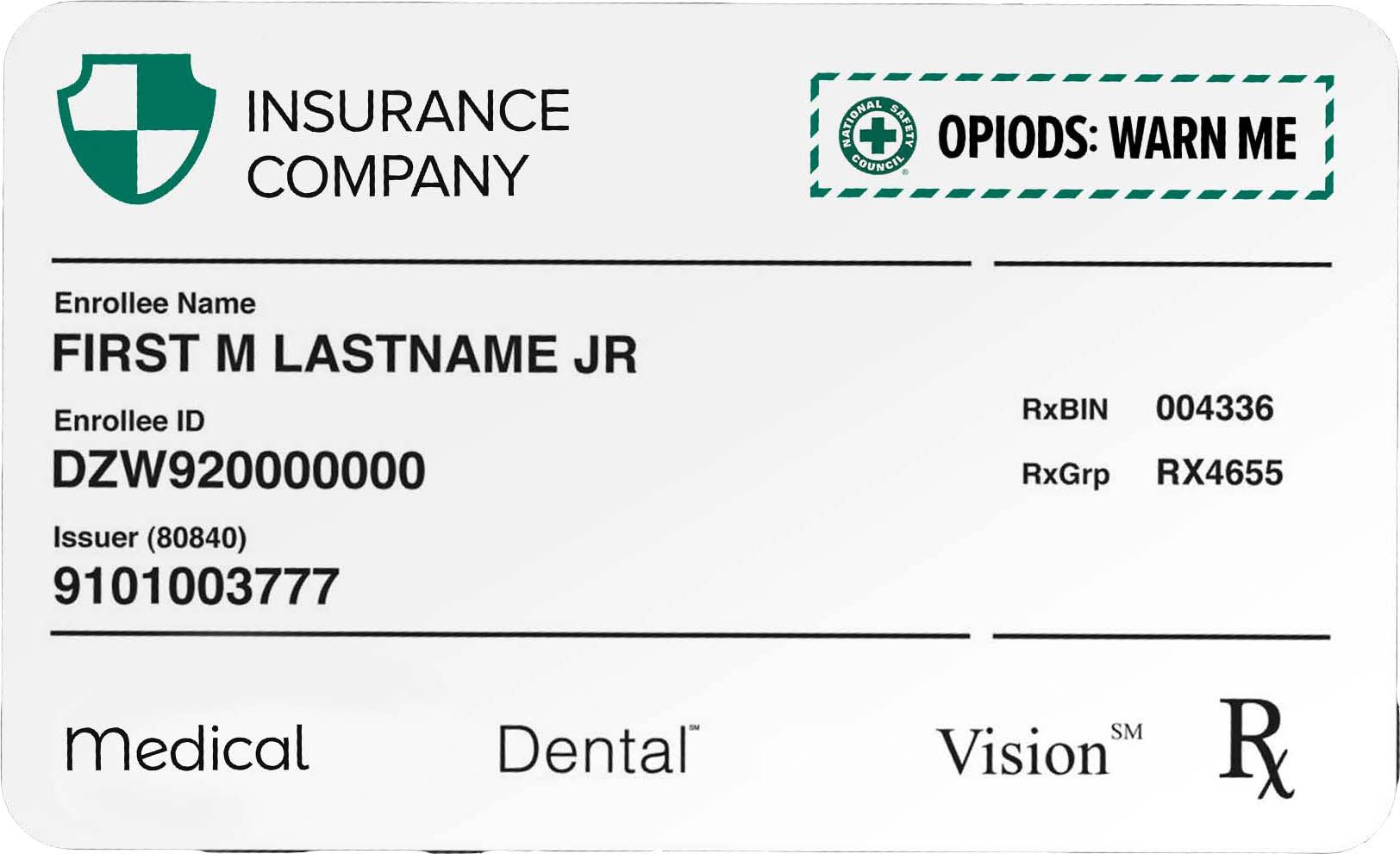 Example Insurance Medical Card